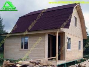 Строительство дома из бруса 6х6 с верандой