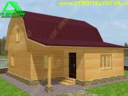 Дачный дом из бруса 6х8м  с верандой 2.5х5 и мансардой «Д-1ст»