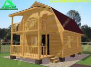 Двухэтажный деревянный дом из бруса  6х6 с террасой «Д-2ст»