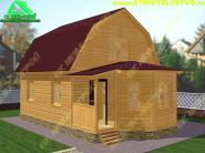Дом из бруса с каркасно-щитовой верандой-эркером 6х6 «Д-44ст»
