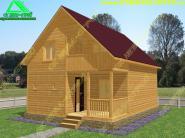 Деревянный дом с открытой террасой и балконом 6х8 «Д-47ст»