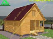 Дом из бруса 6х7.5 с мансардой и открытой террасой «Д-48ст»