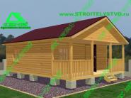 Деревянный дом с террасой «Д-74ст» 6х7.5м