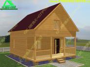 Деревянный дом из бруса 6х8 с мансардой «Д-56ст»