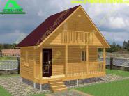 Дом из бруса с открытой террасой и балконом «Д-77ст» 6х4