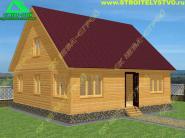 Загородный дом из бруса 8х8 с верандой «Д-76ст»